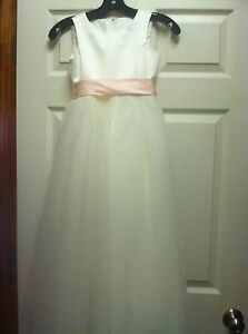 davids bridal gown for a flower girl ivory size 7 with 2 sashes/belts