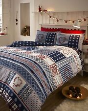 100 Brushed Cotton Flannelette White Red and Blue King Size Duvet Cover Set