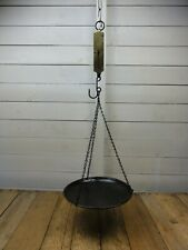 ANTIQUE VINTAGE BRASS BRITISH POCKET SPRING BALANCE SCALES NO. 0 WITH DISH
