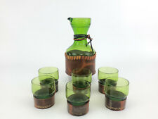 7 piece Mid-Century Modern decanter set, green glass / leather 1960's Italy