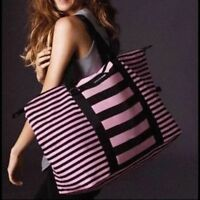 NWT VICTORIA'S SECRET WEEKENDER TRAVEL TOTE GYM BEACH GETAWAY BAG PINK CANVAS XL