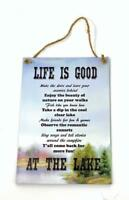 """LIFE is GOOD at the LAKE Inspirational 5"""" x 7"""" Novelty Wood Sign for Wall"""
