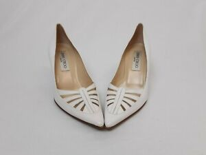 Jimmy Choo shoes white leather court with cut out design 8cm heel 36.5 UK3.5