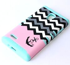 For LG Optimus L9 P769 - HARD & SOFT RUBBER HYBRID CASE PINK BLUE CHEVRON ANCHOR