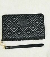 Tory Burch Marion Quilted Black Leather Zip Wallet