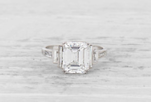 2.56 Carat Emerald Cut Cubic Zirconia Women's 925 Sterling Silver Wedding Ring