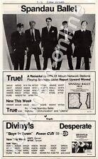 Spandau Ballet True Divinyls Desperate Trade Press Insert 1983