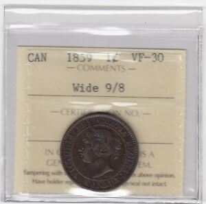 1859 Canada Large Cent - Wide 9/8 - ICCS VF-30 - XSS 280