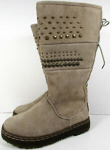 Bearpaw Womens Silverthorne Suede Studded Winter Boot Shoes, Smoke, US 5