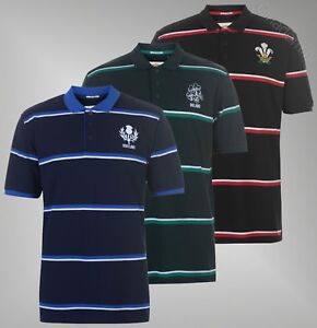 Mens Team Rugby Short Sleeves Top Classic Stripe Polo Shirt Sizes S-XXL