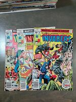 The Invaders 3 Book lot  #16,17,18 Grades vary & complete(1977) Marvel Comics