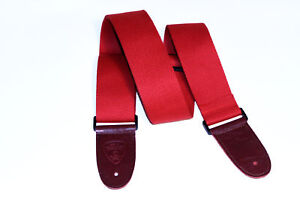 Extra Long woven guitar, bass, ukulele, mandolin strap. Leather ends - Red