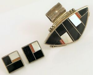 NATIVE AMERICAN RAY TRACEY KNIFEWING STERLING SILVER INLAY PENDANT EARRING SET !