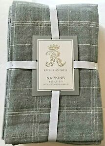 NWT Rachel Ashwell Set of 6 18x18 Cotton Blend Napkins Gray Metallic Silver