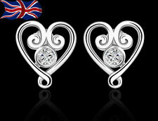 925 Sterling Silver Heart Stud Earrings Crystal Butterfly Ladies Gift UK