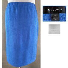"ST JOHN Women's Sz 12 Blue Textured Knit 24"" A Line Pull On Skirt  EUC"