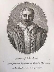 1795 Antique Print; Portrait of John Combe (d.1614) - Samuel Ireland