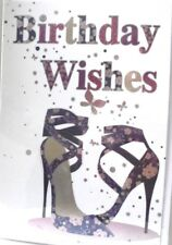 Fashionable Purple Strappy Shoes Open Birthday Card