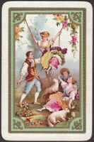 Playing Cards Single Card Old * COURTING LOVERS GIRLS + BOYS * Sheep Art Picture