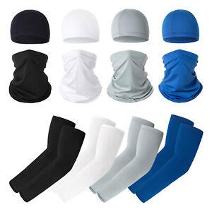 3-teilig UV Schutz Set Halstuch Kühlende Armstulpen Mütze Sonnenschutz für Sport