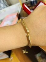 18K Saudi Gold Bangle Bracelet Freesize