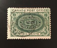 Stamps Canada E1 10c blue green Special Delivery stamp of 1898. See description.