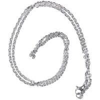 "Schmuck Damen Kette,Edelstahl ""O"" Halskette,Silber-Breite 2mm-Laenge 50cm J3M4"