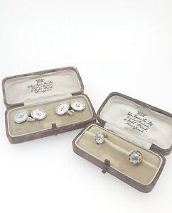 Antique Mother of Pearl, Platinum & Gold Shirt Collar Pins & Cuff link Set.
