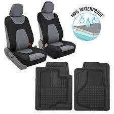 Motor Trend 3 Layer Waterproof Car Seat Covers Black/Gray + 2 Rubber Floor Mats