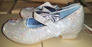 NEW! Toddler Disney Frozen Dress Heel Shoes - Silver Glitter - Various Sizes!