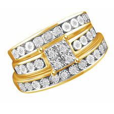 0.17 Ctte Round Shape Diamond Wedding Trio Band Ring Set 14K Yellow Gold Over