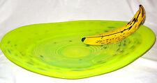 LARGE VINTAGE 1990s RPM STUDIOS HARRY STUART GLASS BANANA ART PLATTER ACID GREEN