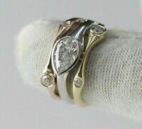2Ct Pear Diamond Three Tone Engagement Ring 14K Rose/White/Yellow Gold Finish