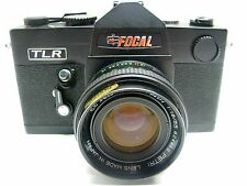 Vintage 1977 K-Mart Focal TLR 35mm SLR Camera w/Petri 55mm 1,8 and leather case.