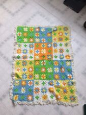 Vintage Handmade Crocheted Granny Square Afghan Lap Blanket Lace Edged 9 Patch