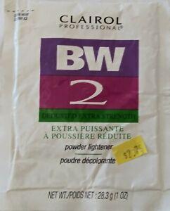 CLAIROL Professional. BW2 Powder hair Lightener. 1oz Pkg. Dedusted X Strength.