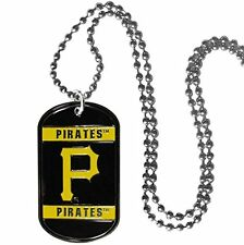"Pittsburgh Pirates Baseball Enameled Team Logo MLB 26"" Chrome Dog Tag Necklace"