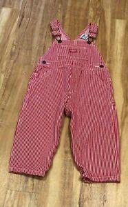 OSH KOSH Red & White Striped Denim Dungarees - Age 18 months - NEW