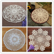 Round Vintage Crochet Cotton Lace Table Cloth Cover Small Tablecloth 60cm Floral