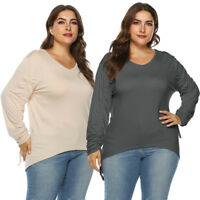Plus Size Shirt Women Autumn Casual Long Sleeve V-Neck Bandage Solid Blouse Tops