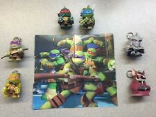 NICKELODEON 2015 TMNT COMPLETE SET OF 6 KEYCHAINS AND 3D CARD PUZZLE SET