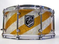 DR Customs Snare 14x6,5 Diagonal Vintage White Pearls & Gold Sparkle