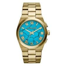 Michael Kors Brooks Turquoise Dial Ladies Designer Gold Bracelet Watch MK5894