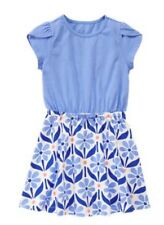 GYMBOREE NWT Mix N Match Flower Print Knit Dress Blue Size S 5 6 GIRLS