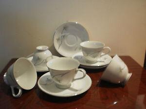 SET OF 5 VINTAGE JAPANESE NAGOYA CHINA PORCELAIN  FOOTED CUPS & SAUCERS