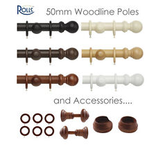 Woodline by Rolls - Substantial 50mm Wooden Curtain Pole Set - Six Colours