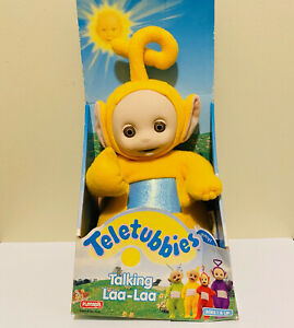 "Teletubbies Talking Laa Laa Playskool 1998 Soft Plush Doll 15"" With Box Works"