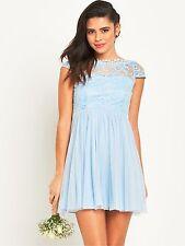 Vila viulrika WOMEN'S Pequeño Reino Unido 10 Cashmere Azul Vestido Espalda en V-Envío Gratis