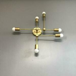 Mid Century Wall Sconce Abstract Vanity Light Handcrafted Polished Brass Lights