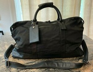 Coach Black Nylon Leather Large Cabin 5497 Carry On Duffel Weekender Travel Bag